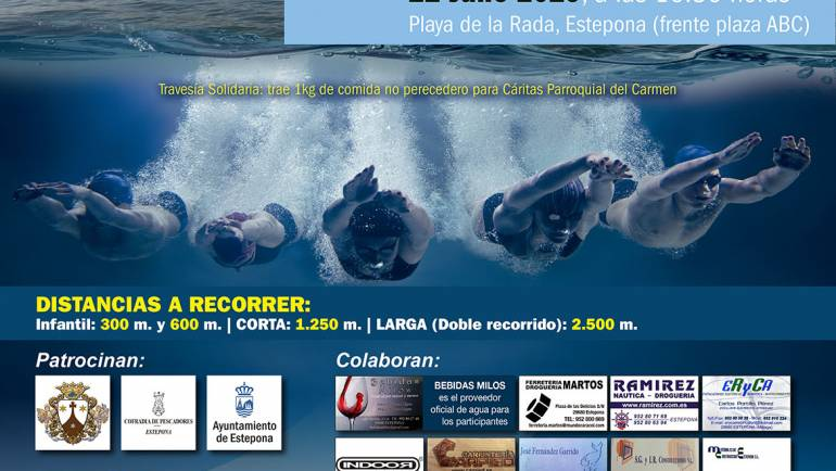 Marinas del Mediterráneo colabora con la 5ª Travesía a Nado Virgen del Carmen Coronada Estepona